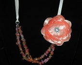 Orange and Peach Glass Crackle bead with flower and ribbon