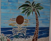 Stained Glass Mosaic Tropical Beach