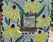 Stained Glass flower petite mosaic wall mirrror