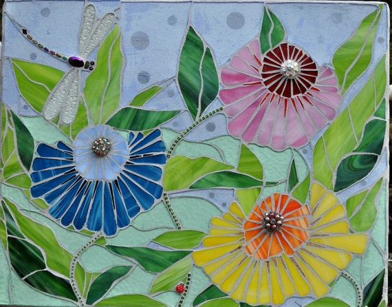 Stained Glass Garden Mosaic one of a kind  wall art