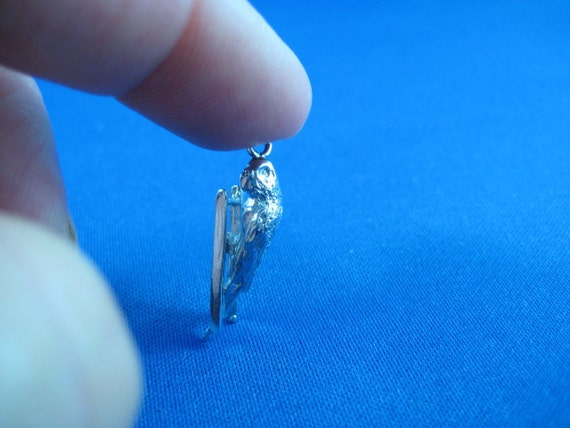 3D Budgie Bird on Ladder Charm  - Sterling Silver Vintage Charm Pendant