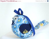 ON SALE Small Stuffed Bird - Blue and Yellow Calico Floral Print - Handmade Hand Sewn Embellished with ribbon button embroidery
