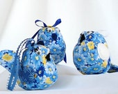 Stuffed Birds Handmade Set of 3 - Blue Yellow Floral Print - Hand Sewn and Embroidered Embellished