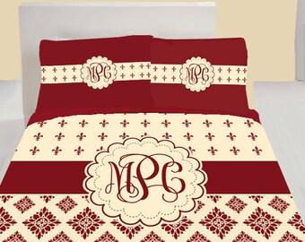 Fleur de lis custom monogrammed bedding set - Fleur de lis bed sheets ...