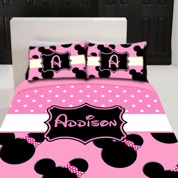 minnie mouse custom personalized bedding set