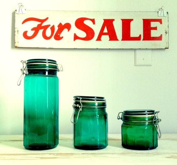 Vintage Canister Set - Turquoise Glass - Set of Three