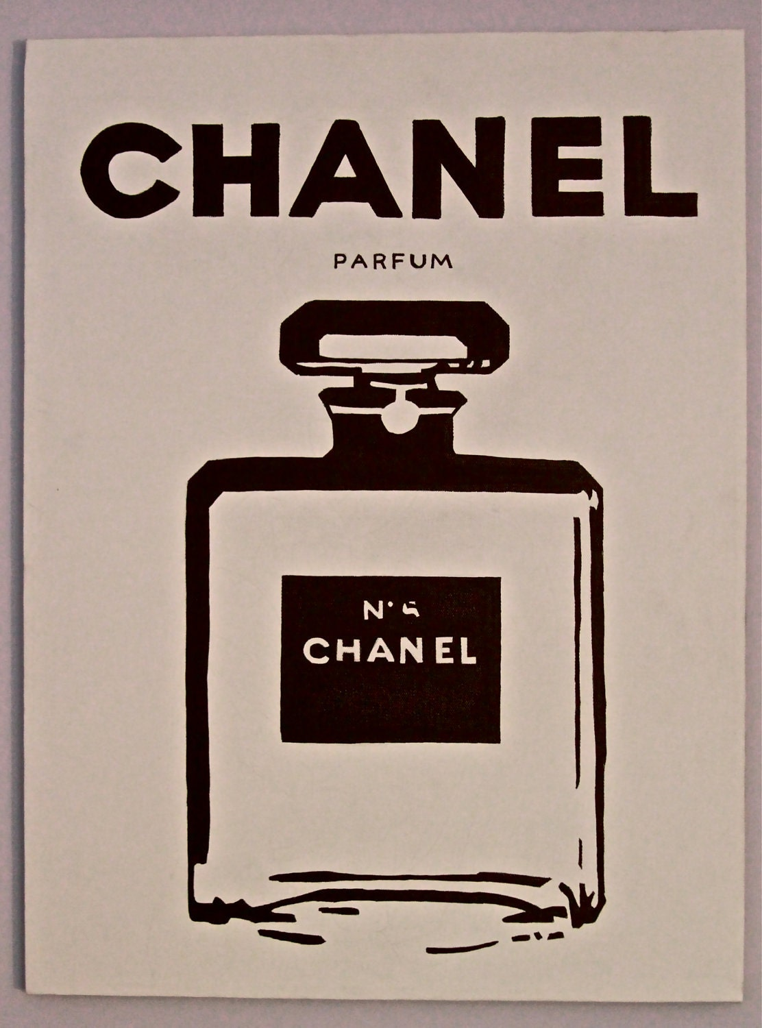 items similar to chanel perfume pop art chanel no 5 on etsy. Black Bedroom Furniture Sets. Home Design Ideas