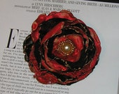 Handmade red black rose pin brooch hair clip