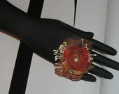 Handmade adjustable antique bronze chiffon fabric  beaded ring one size fits all