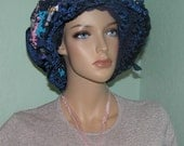 rag NAVYblue COWL hat handmade and designed one of a kind warm and cozy worn as a hood too outgoing