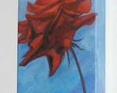 RED ROSE ORIGINAL  painting   vibrant  5 x 10 inch realism