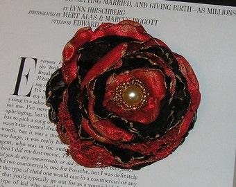 Handmade red black rose pin brooch hair clip