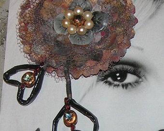 Handmade unique designer fabric flower pin brooch hair clip