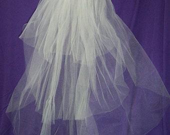 3 tier ELBOW length WHITE PLAIN cut veil wedding bridal on comb