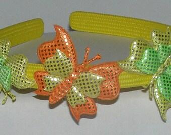 ORANGE  YELLOW  BUTTERFLIES  headband