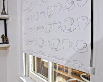 "Coffee Cup Pattern Window Shade 38.25''- 41"" width"
