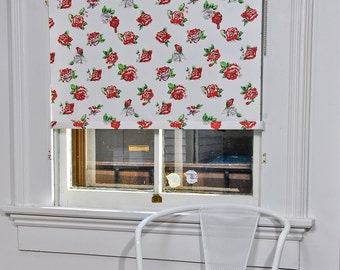 "Washed Rose Pattern Window Shade 28.25''- 32"" width"