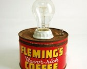 Coffee Can Lamp Vintage Red Flemings Exposed Edison Bulb