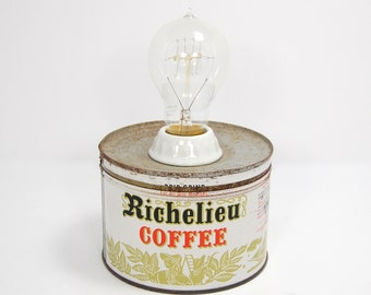 Desk Lamp, Table Lamp, Industrial Lamp, Vintage Coffee Can Lamp With Edison Bulb Lamp