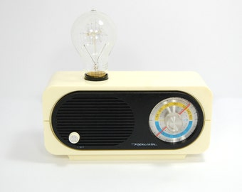 Vintage Radio Lamp With Exposed Edison Bulb WORKING RADIO