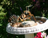 Treasury Item - handmade 3-dimensional Ant metal garden art 7 inches long by 4 inches tall rusted/patina