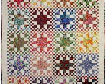 Quilt Pattern - Rainbow Checks - fat quarter friendly, PDF Version, original design by Sew Well Maide