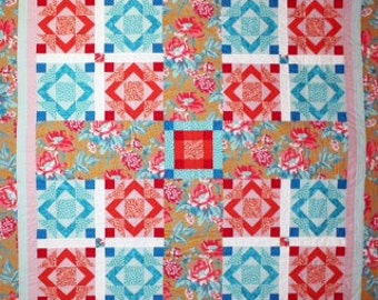 Quilt Pattern - PDF Trixie's Homeland Queen Size Quilt, original design by Sew Well Maide