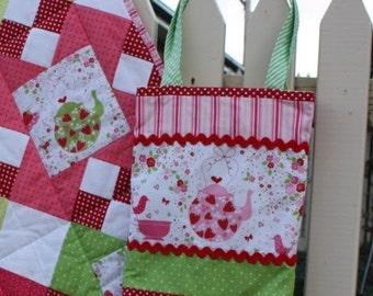 Tote Bag Pattern - Strawberries and Tea Tote Bag - PDF version