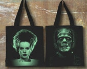 Frankenstein and Bride Tote Bag Cool Teen Gift Book Bag Purse Black Bag Lightweight and Strong