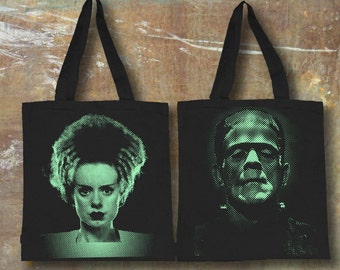Frankenstein and Bride Tote Bag Cool Teen Gift Classic Movie Lover