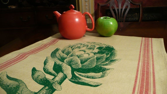 Tea Towel hand printed with Vintage Artichoke Woodcut and Festive Woven Red Stripe