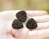 Felt picks for ukulele and bass guitar - BLACK (pack of 3)