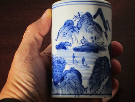 Transfer ware bud vase blue and white