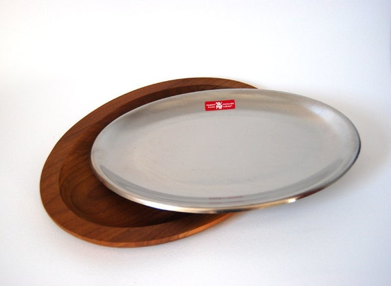 2 Mid Century Modern Swedish Stainless Steel Tray with Teak Charger