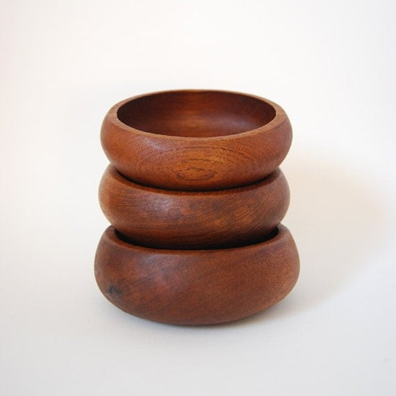 3 Small Teak Bowls Hand Carved - Thailand