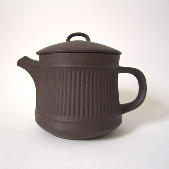 Dansk Brown Fluted Flamestone Teapot by Jens Quistgaard