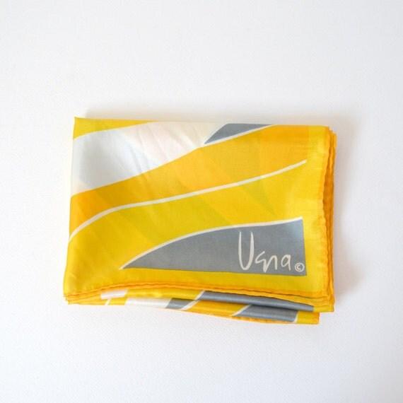 Vera Rectangular Silk Scarf 1970s Yellow, White and Grey
