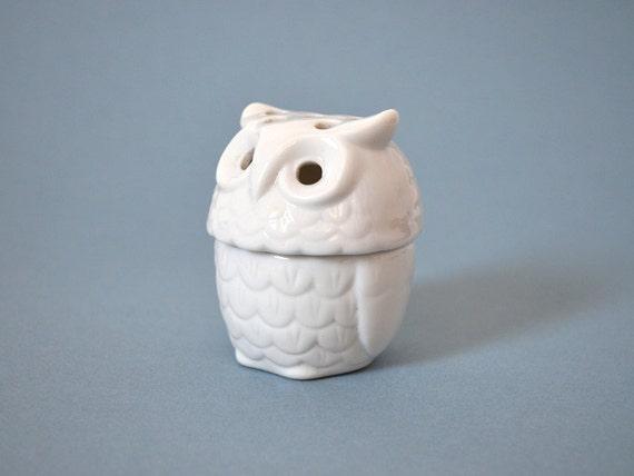Vintage Porcelain Owl - Incense Burner or Votive Holder