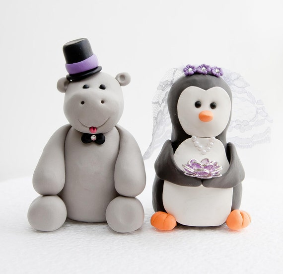 Hippo and Penguin Wedding Cake Toppers