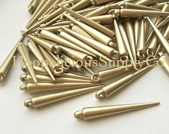 25 MEDIUM MATTE GOLD Spike Beads with Top Loop- 34mm- Fast Shipping and Delivery Confirmation/Tracking Included in Shipping Costs