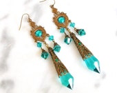 Blue Zircon Crystal  Victorian Chantelier  Earrings - Victorian Jewelry