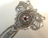 Silver Daisy Bookmark - Red Swarovski Victorian Bookmark - Vintage style Accessories