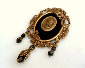 Victorian Cameo Brooch - Black Velvet and Brass Floral Frame - Victorian Jewelry