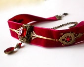 Deep Red Velvet Choker - Gothic Victorian Jewelry - Swarovski Crystals and Brass