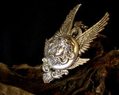 Gothic Necklace Silver Medusa Angel Wings Fantasy Gothic Jewelry