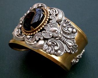 Gothic Cuff Bracelet - Game of Thrones - Black Onyx Cuff Bracelet - Women Men Gothic Jewelry