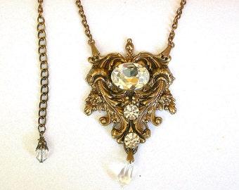 Gothic Crystal Necklace  - Swarovski Crystal on Oxidized Brass - Bridal Jewelry - Victorian Gothic Jewelry