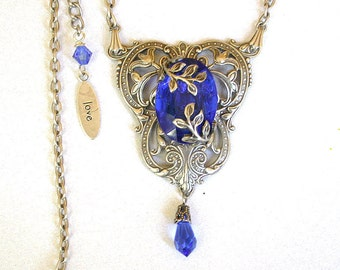 Victorian Sapphire Crystal Necklace  - Sapphire Jewel on Silver and Swarovski Crystals - Victorian Jewelry