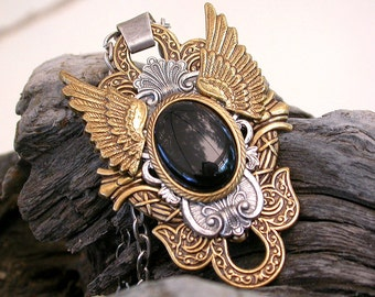 Gothic Black Onyx Mixed Metal Pendant - Men Women Wings Jewelry - Gothic Wings Necklace