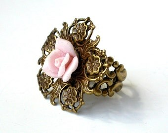 Victorian Brass Ring with Porcelain Light Pink Rose Bud - Victorian Wedding Jewelry